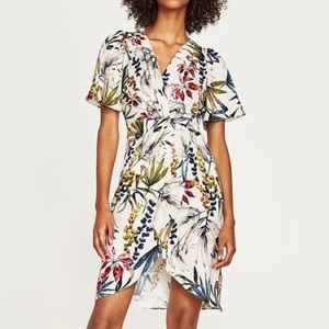 Zara Floral Knot Crossover Dress - Large